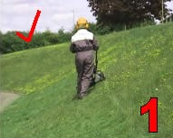 steep slope mowing step 1